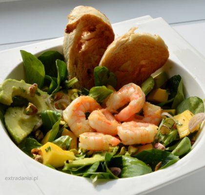 roszponka z mango, awokado i krewetkami