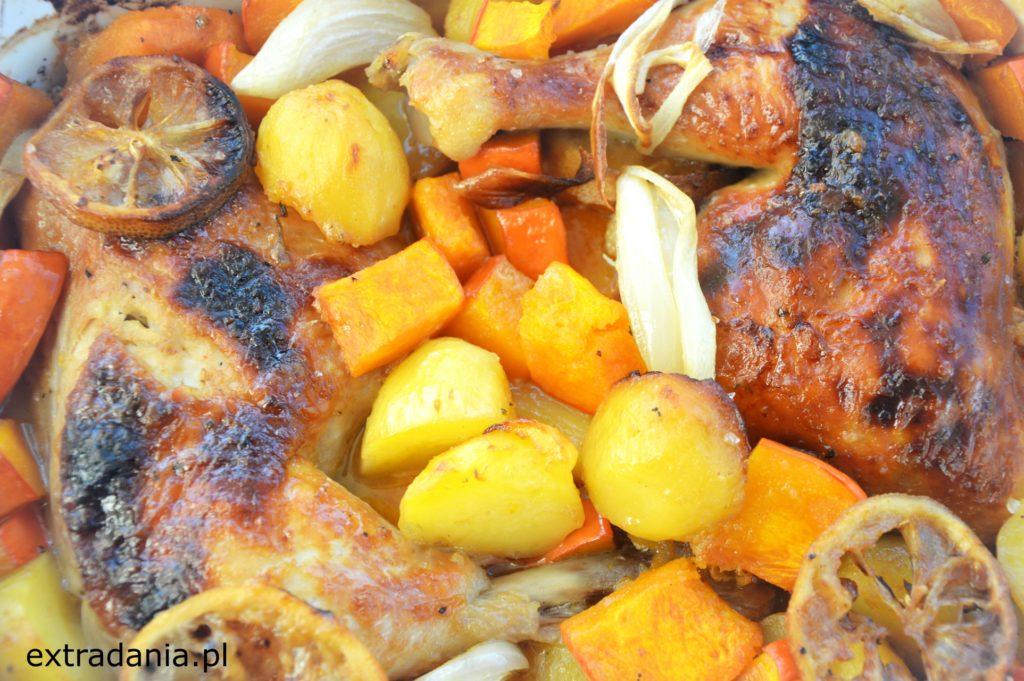 pieczone udka miodowo-musztardowe z dynia i ziemniakami