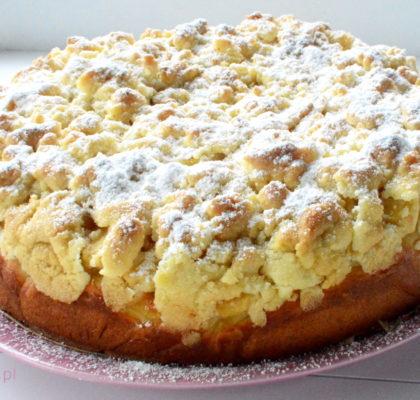 ciasto drozdzowe z jablkami i kruszonka