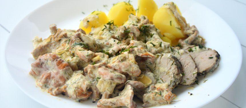 Polędwiczka wieprzowa w sosie z kurkami