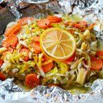 Pieczony dorsz z warzywami